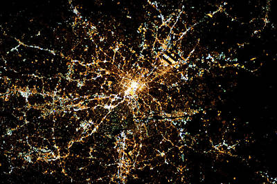 Topography Photograph - Night Time Satellite Image Of Atlanta by Panoramic Images