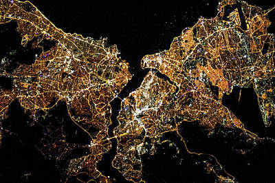 Night Time Satellite Image Of Istanbul Art Print
