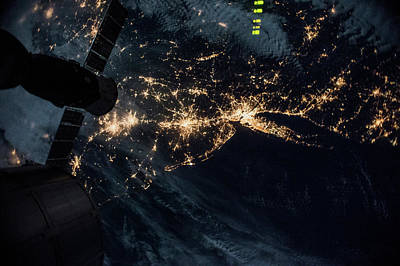 Exploration Of Space Photograph - Night Time Satellite Image Of New York by Panoramic Images