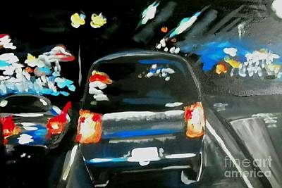 Painting - Night Traffic by Marisela Mungia