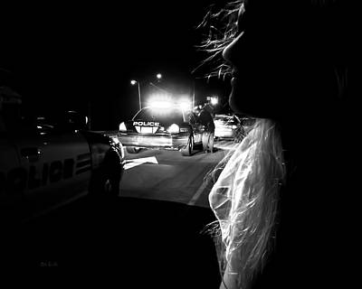 Police Cruiser Photograph - Night Traffic Stop Three by Bob Orsillo
