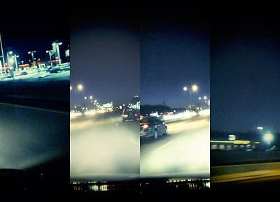 Digital Art - Night Traffice by Susan Stone