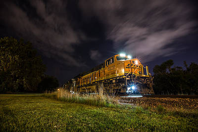 Railroads Photograph - Night Train 3 by Aaron J Groen