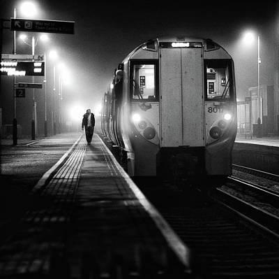 Railway Station Photograph - Night Train by Peter Davidson