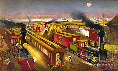 Night Trains 1876 Art Print