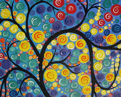 Living With Joy Painting - Night Tree by Cathy Jacobs