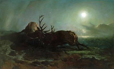 Landseer Painting - Night. Two Stags Battling By Moonlight by Edwin Landseer