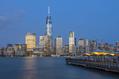 Exchange Place Photograph - Night View by Christian Heeb