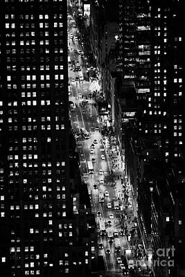 Night View Down Towards Fifth 5th Avenue Ave At Night New York City Art Print