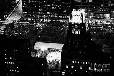 Night View Of Bryant Park Ice Skating Rink And Roof Of American Standard Building New York City Art Print by Joe Fox