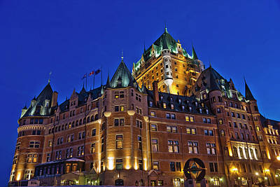 Night View Of Chateau Frontenac Hotel Art Print