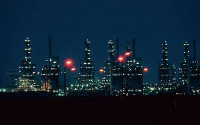 Night View Of Ici Chemical Works Art Print by Martin Bond/science Photo Library