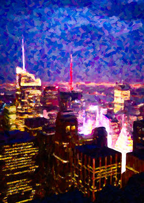 Colorful Painting - Night View Of New York City by Hakon Soreide