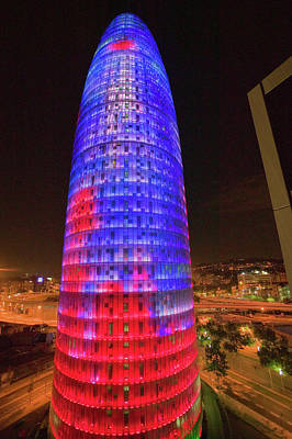 Barcelona Photograph - Night View Of Phallic-shaped Torre by Panoramic Images