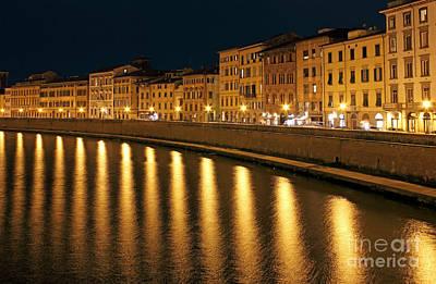 Night View Of River Arno Bank In Pisa Art Print by Kiril Stanchev