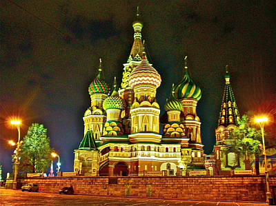 Onion Domes Digital Art - Night View Of Saint Basil Cathedral In Red Square In Moscow-russia by Ruth Hager