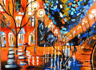 Painting - Night Village Rain by Jayne Kerr