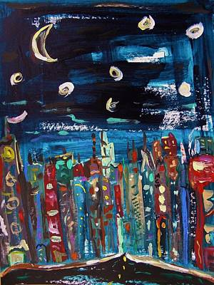 Primitive Drawing - Night Vision by Mary Carol Williams