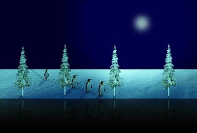 Penguin Digital Art - Night Walk Of The Penguins 2.5 by David Dehner