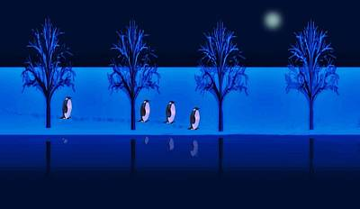 Digital Art - Night Walk Of The Penguins by David Dehner
