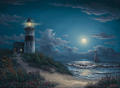 Moonlight Beach Painting - Night Watch by Kyle Wood