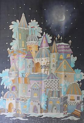 Streetlight Mixed Media - Night Winter City by VV Art Batik