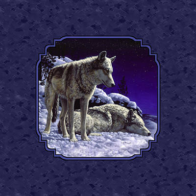Dog In Snow Painting - Night Wolves Painting For Pillows by Crista Forest