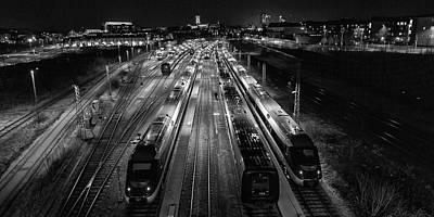 Train Tracks Wall Art - Photograph - Night Work. by Leif L?ndal