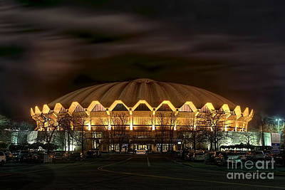 Art Print featuring the photograph night WVU basketball Coliseum arena in by Dan Friend
