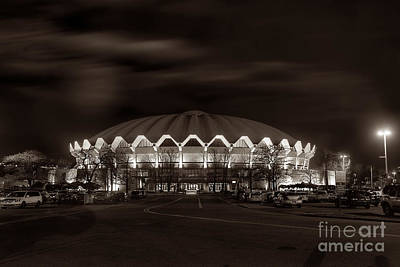 Art Print featuring the photograph night WVU Coliseum basketball arena by Dan Friend
