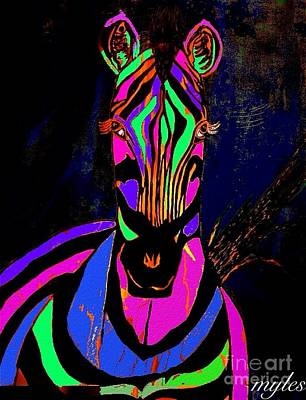 Painting - Night Zebra Abstract by Saundra Myles