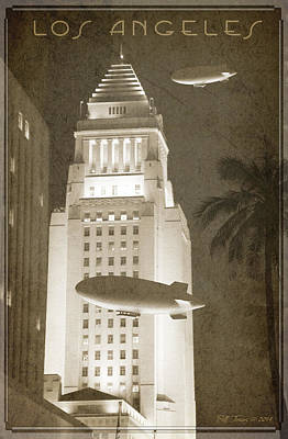 Night Zeppelins Over L A Art Print by Bill Jonas