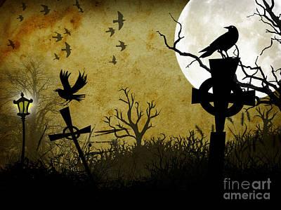 Corvid Digital Art - Nightbirds  by Putterhug  Studio