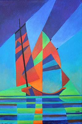 Print featuring the painting Nightboat by Tracey Harrington-Simpson