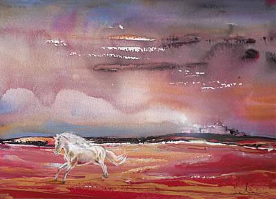 Spanish Horses Painting - Nightfall 20 by Miki De Goodaboom