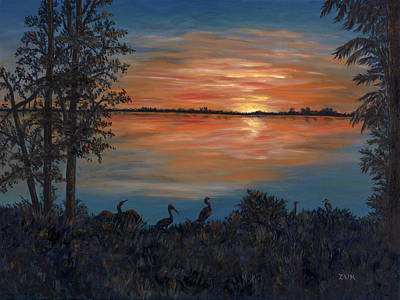 Art Print featuring the painting Nightfall At Loxahatchee by Karen Zuk Rosenblatt