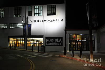 Photograph - Nightfall At The Monterey Bay Aquarium On Monterey Cannery Row California 5d25177 by Wingsdomain Art and Photography