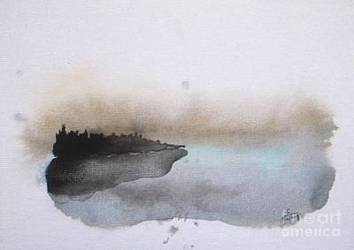 Abstract Landscapes Painting - Nightfall On The Lake  by Vesna Antic