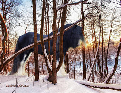 Gypsy Cob Digital Art - Nighthawk In The Snow by Feathered Gold Stables