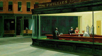 Abstract Ink Paintings In Color - Nighthawks by Edward Hopper