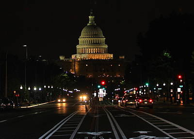 Nightime On Capitol Hill Art Print by DustyFootPhotography