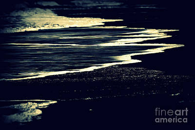 Beach Photograph - Nightly Waves By The Ocean Shore by Susanne Van Hulst