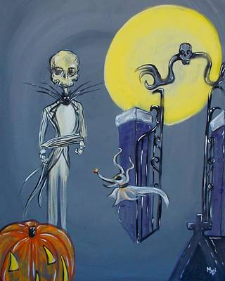 Painting - Nightmare Before Christmas Eerie Jack by Marisela Mungia