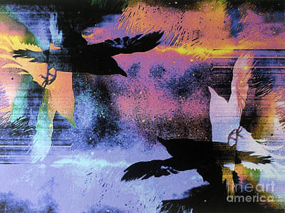 Intuitive Art Painting - Nights Flight Towards Dawn by Linda Marcille