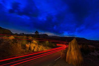 Comic Character Paintings - Nighttime Desert Road Trip by Steve Gadomski