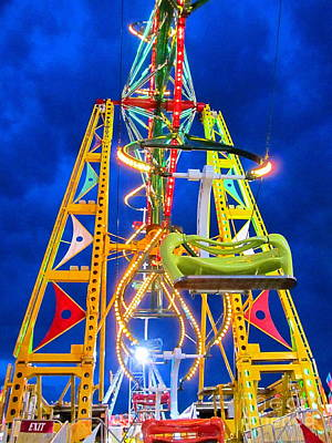 Photograph - Nighttime Ferris Wheel by Cynthia  Clark