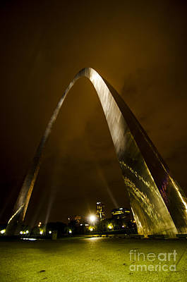 Photograph - Nighttime Gateway Arch St Louis Missouri by Deborah Smolinske
