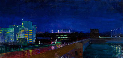 Uva Painting - Nighttime In Charlottesville by Edward Thomas