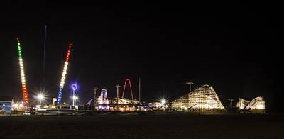 Rollercoaster Digital Art - Nighttime In Wildwood New Jersey by Bill Cannon