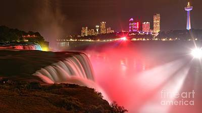 Photograph - Nighttime Niagara Falls Panorama by Adam Jewell